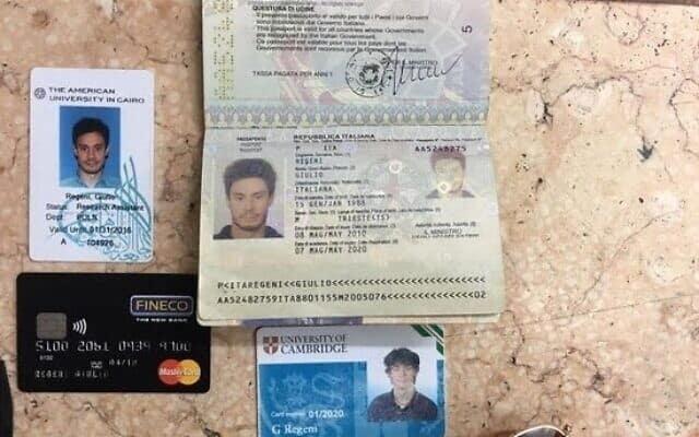 חפציו האישיים של הסטודנט האיטלקי שנרצח בקהיר (צילום: Egyptian Interior Ministry via AP, File)