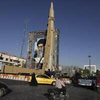 הטיל הבליסטי שיהאב 3 בטהרן, ספטמבר 2019 (צילום: Vahid Salemi, AP)