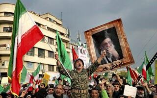 הפגנה למען הממשל באיראן, בתגובה להפגנות נגדו, נובמבר 2019 (צילום: AP Photo/Ebrahim Noroozi)