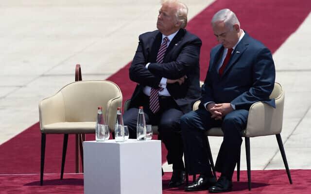 בנימין נתניהו ונשיא ארצות הברית, דונלד טראמפ, בעת ביקורו בארץ (צילום: Gili Yaari/Flash90)