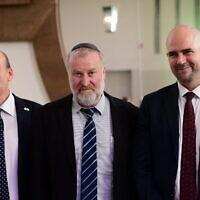 היועץ המשפטי לממשלה אביחי מנדלבליט, שר המשפטים לשעבר אמיר אוחנה, ומבקר המדינה מתניהו אנגלמן (צילום: Tomer Neuberg/Flash90)