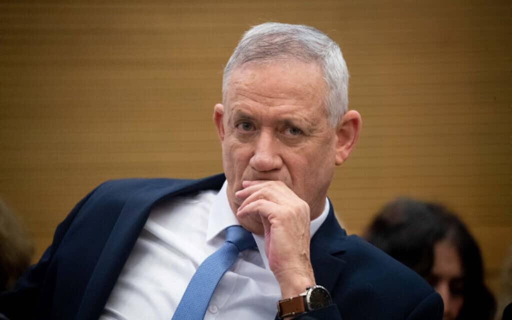 """יו""""ר כחול לבן, בני גנץ ביום פיזור הכנסת, 11 בדצמבר 2019 (צילום: Flash90/יונתן זינדל)"""