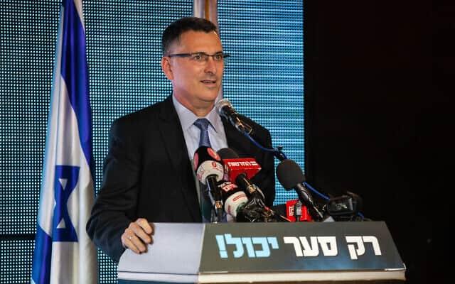 גדעון סער בכנס פעילי ליכוד בחיפה, ב-18 בדצמבר 2019 (צילום: פלאש90)