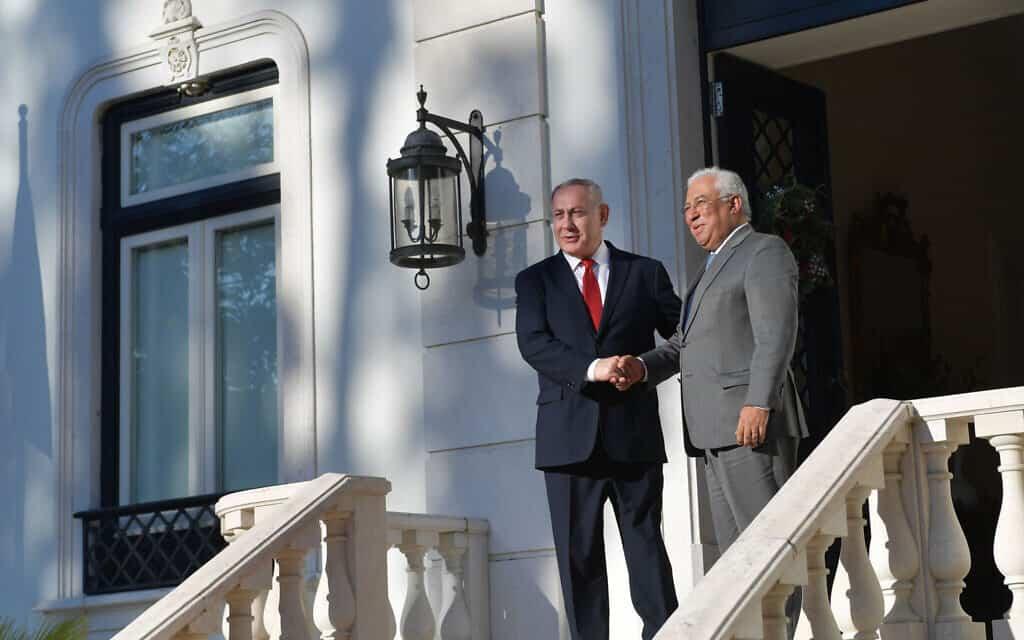 """בנימין נתניהו נפגש עם ראש ממשלת פורטוגל אנטוניו קושטה בליסבון, פורטוגל. 5 בדצמבר 2019 (צילום: קובי גדעון/לע""""מ)"""