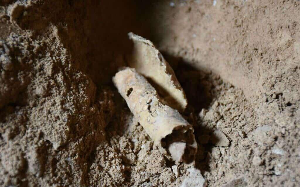 השריד הזה של כריכת מגילה בת אלפיים שנה נמצא במערה 53 בקומראן, ולדברי ארכיאולוגים, שייך למגילות ים המלח מתקופת בית שני, 8 בפברואר 2017 (צילום: באדיבות האוניברסיטה העברית)