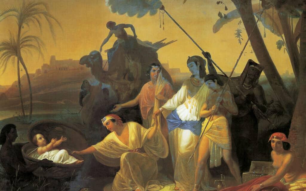 בת פרעה ומשה בתיבה, ציור: קונסטנטין פלביצקי, אמצע המאה ה-19
