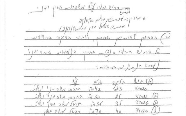 מסמך שמעיד על בעלות פרטית של משפחת חסון על בתים בחברון (צילום: יונה רוכלין)