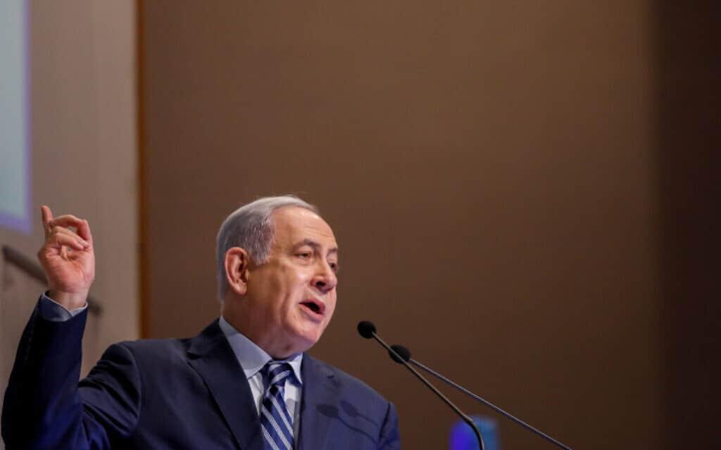 ראש הממשלה נתניהו בפורום קהלת בירושלים, היום (צילום: אוליבייה פיטוסי, פלאש 90)