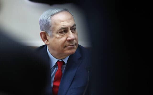 ראש הממשלה נתניהו בישיבת הממשלה השבועית, היום (צילום: Ronen Zvulun/Pool via AP)