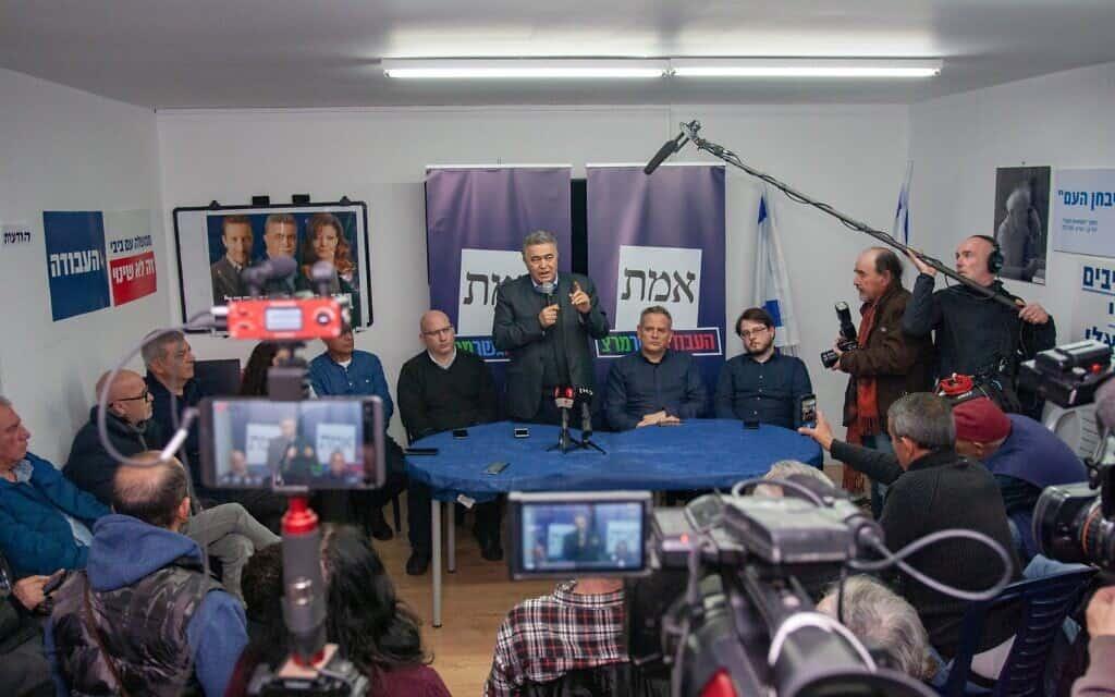 ניצן הורביץ ועמיר פרץ בהשקת מטה הבחירות של עבודה-גשר-מרצ בבאר שבע (צילום: דור פזואלו)