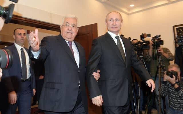 הנשיא פוטין (מימין) והנשיא הפלסטיני עבאס (צילום: סוכנות הידיעות הפלסטינית וופא)