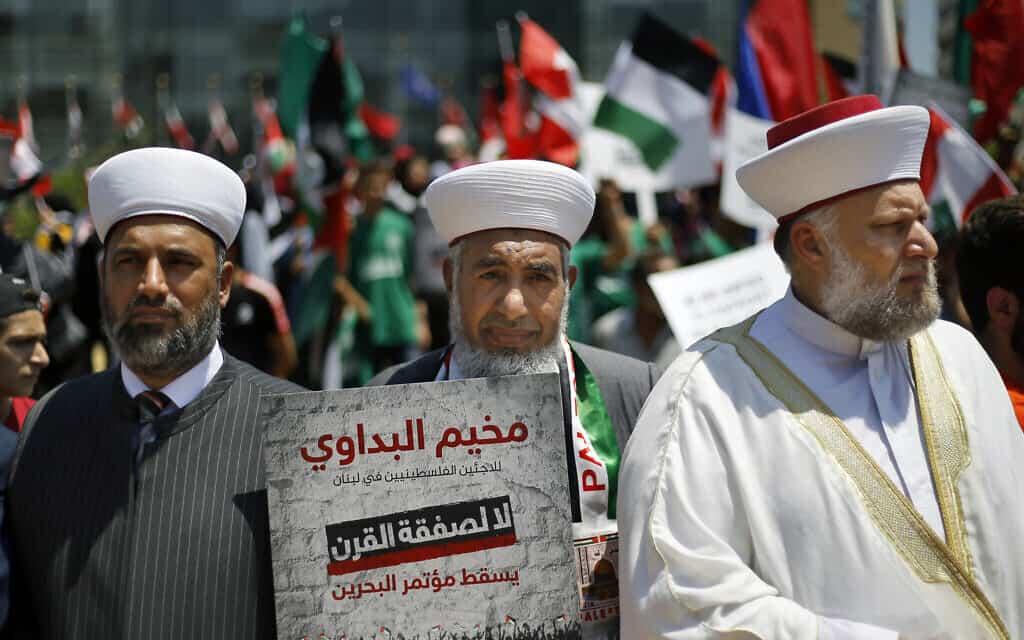 הפגנה נגד תכנית המאה בלבנון, ארכיון, יוני 2019 (צילום: AP Photo/Bilal Hussein)