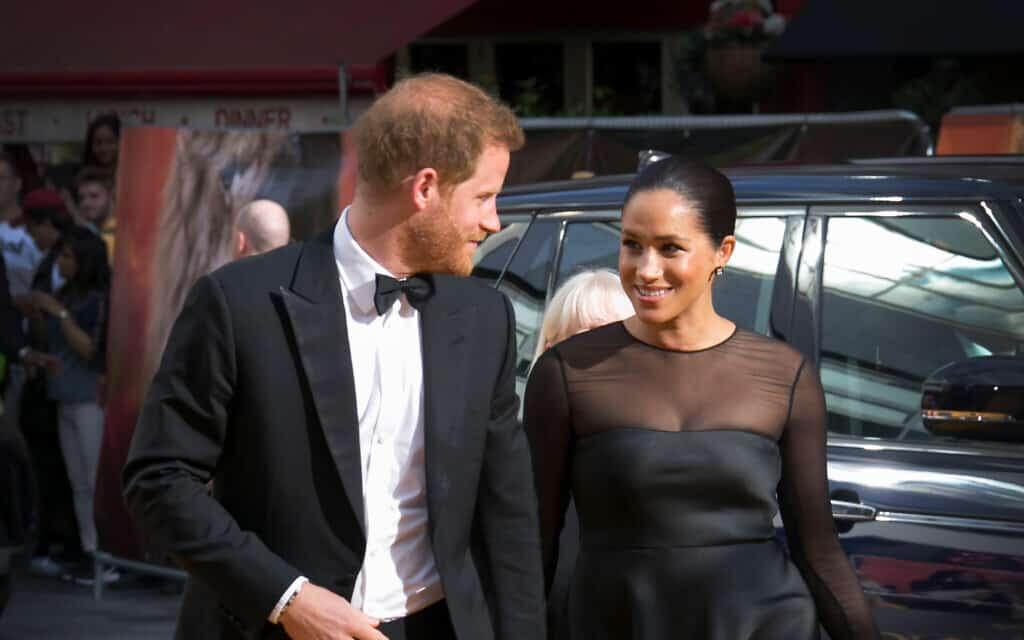 מייגן והנסיך הארי בפרמיירה של מלך האריות בלונדון, 14 ביולי 2019 (צילום: Photo by Joel C Ryan/Invision/AP)