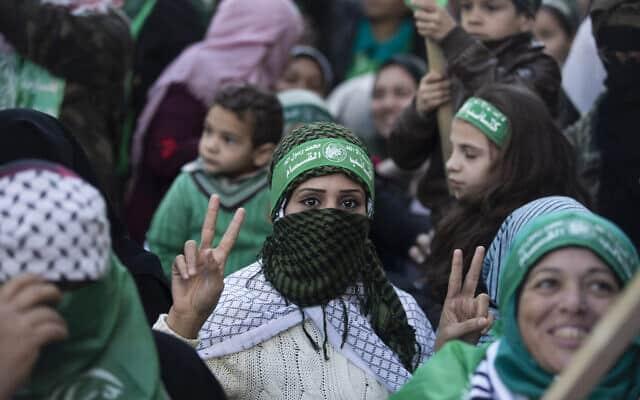 בעזה מציינים 32 שנה להקמת חמאס, דצמבר 2019 (צילום: AP Photo/Khalil Hamra)