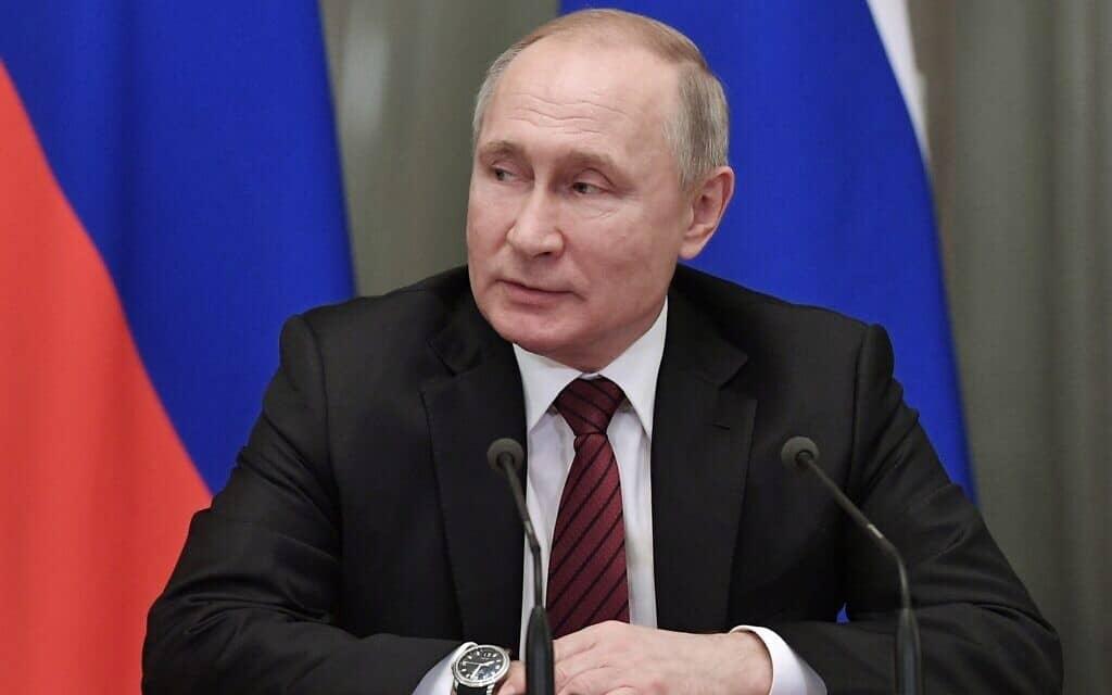 נשיא רוסיה פוטין, אתמול (צילום: Alexei Nikolsky, Sputnik, Kremlin Pool Photo via AP)