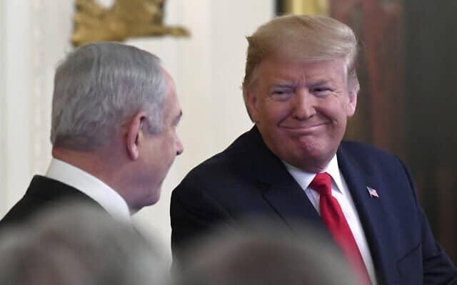 דונלד טראמפ ובנימין נתניהו בבית הלבן. ינואר 2020 (צילום: AP Photo/Susan Walsh)