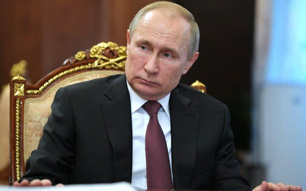 נשיא רוסיה פוטין במוסקבה, היום (צילום: Alexei Druzhinin, Sputnik, Kremlin Pool Photo via AP)