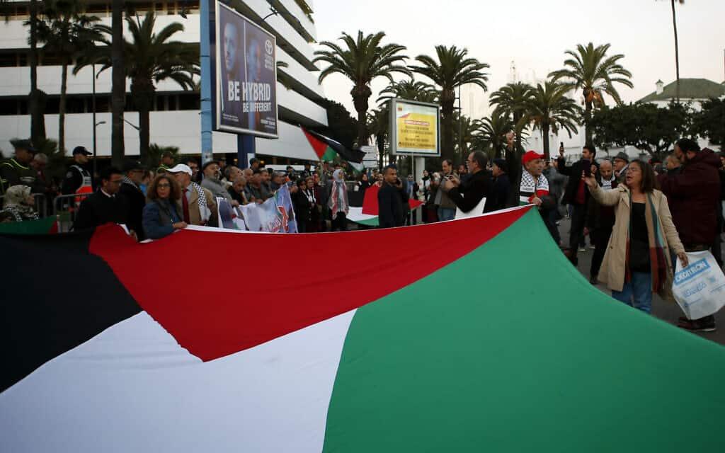 הפגנה נגד תכנית המאה במרוקו, ינואר 2020 (צילום: AP Photo/Abdeljalil Bounhar)