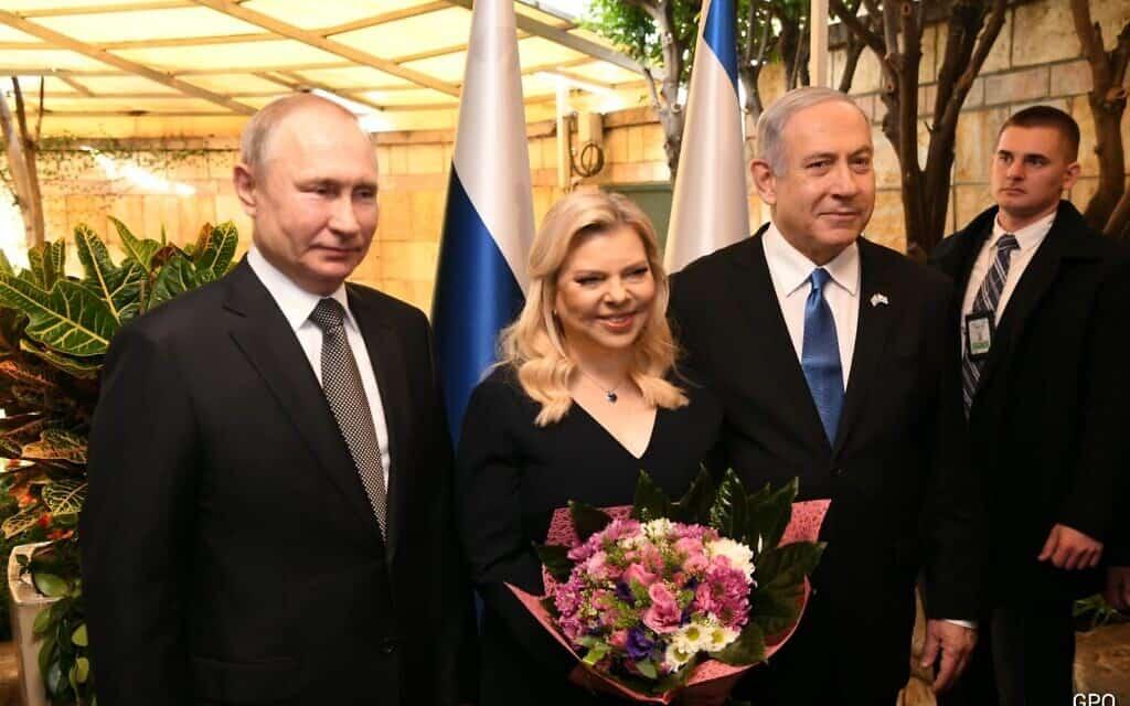 בנימין נתניהו, שרה נתניהו, ולדימיר פוטין (צילום: תקשורת ראש הממשלה)
