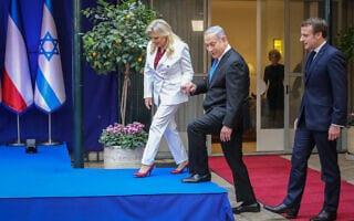 בנימין ושרה נתניהו ועמנואל מקרון בפסגת המנהיגים בירושלים לרגל יום השואה הבינלאומי (צילום: Marc Israel Sellem-POOL)