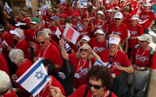 מצעד של ארגון נשות הדסה בירושלים. 2012 (צילום: Yoav Ari Dudkevitch / FLASH90)
