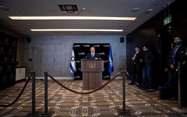 מסיבת מאבטחים, נתניהו מודיע על בקשת החסינות (צילום: Yonatan Sindel/Flash90)