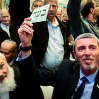 רפי פרץ בכינוס שבו אושר האיחוד בין הבית היהודי לעוצמה יהודית (צילום: Flash90)