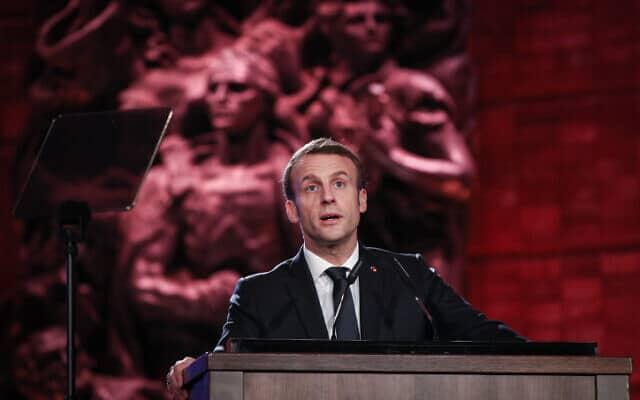 נשיא צרפת מקרון בפורום השואה העולמי ביד ושם, היום (צילום: יונתן זינדל, פלאש 90)
