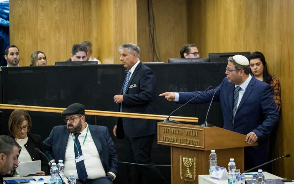 איתמר בן גביר בוועדת הבחירות המרכזית, היום (צילום: יונתן זינדל, פלאש 90)