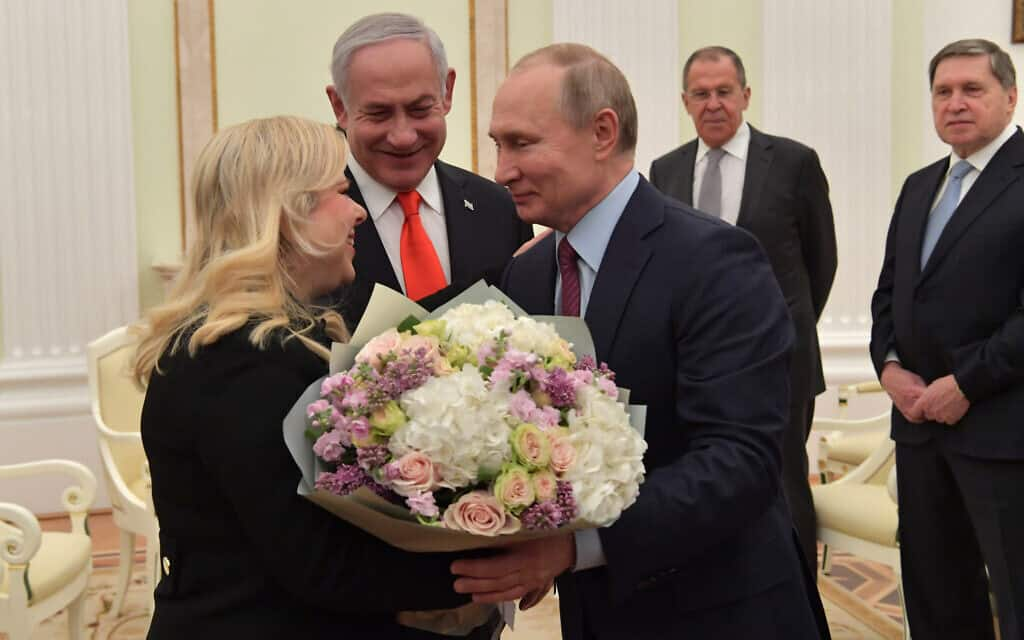 """בנימין ושרה נתניהו בפגישה עם פוטין, 30 בינואר 2020 (צילום: קובי גדעון לע""""מ)"""