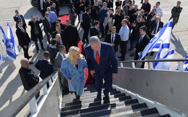 """בני הזוג נתניהו בנתב""""ג, 26 בינואר 2020 (צילום: קובי גדעון, לשכת העיתונות הממשלתית)"""