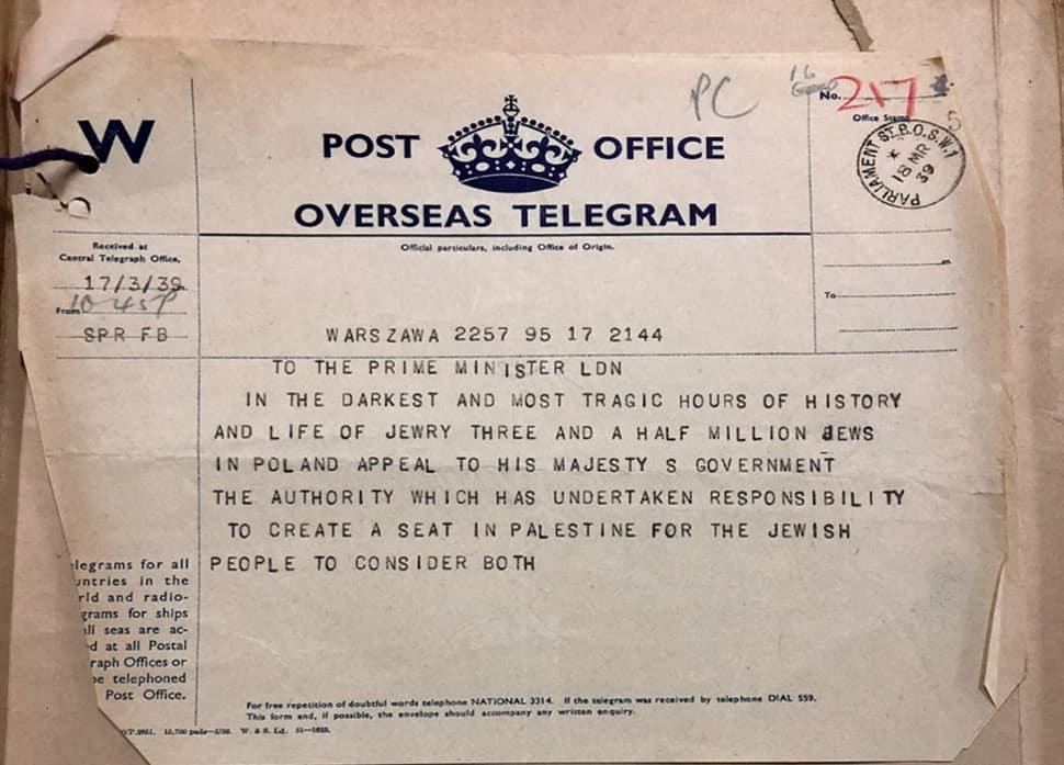 עמוד ראשון: מברק שטרם פורסם עד כה מהנהגת יהודי פולין המפציר בבריטניה במארס 1939 לאפשר ליהודים לברוח לפלשתינה ולברוח מהאיום הנאצי המתקרב (צילום: סטיבן אי. זיפרסטיין)