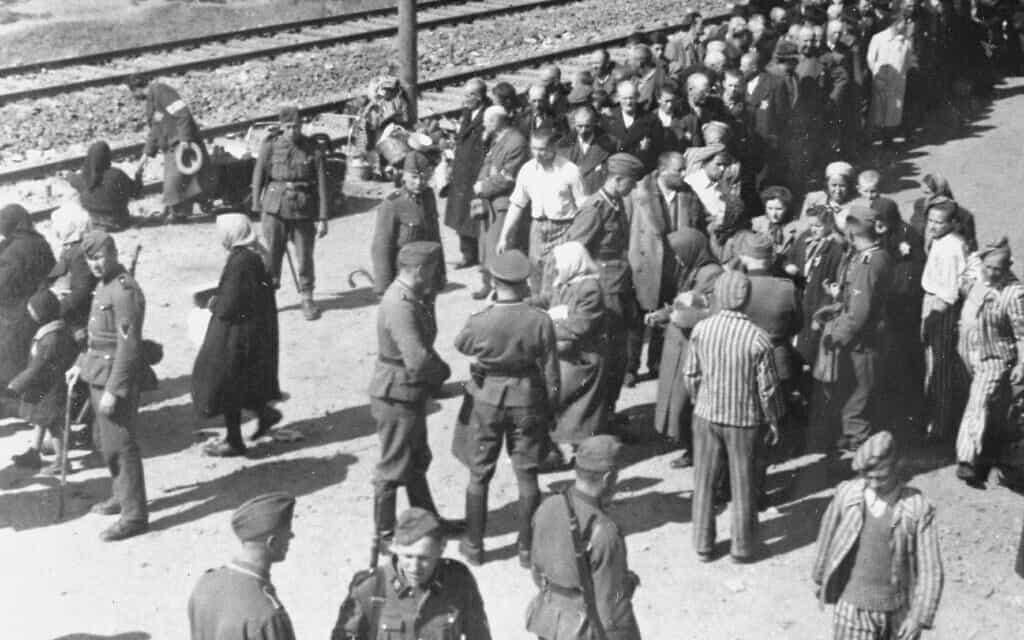 """אחד מהצילומים של """"אלבום אושוויץ"""" שצולם מגג משאית במאי 1944. חלק מקציני ה-SS והקורבנות היהודים החדשים זוהו (צילום: יד ושם)"""