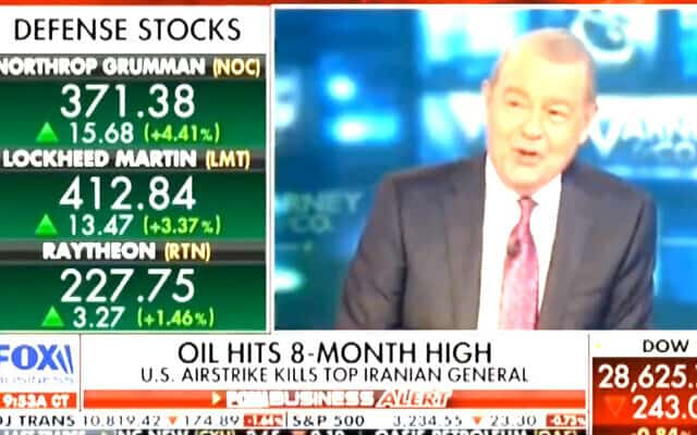 """""""בואו נביט במניות """"ההגנה"""". הן כולם עולות. אלו חברות """"ההגנה"""" שעשו את זה, והשוק מגיב"""" """"נורט'רופ, לוקהיד ורייטון מצליחות מאוד. לכולן טוב מאוד היום"""" (צילום מסך)"""