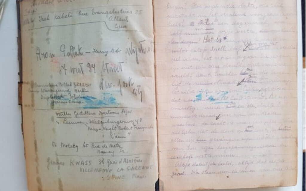 כתב היד המקורי של Last Stop Auschwitz, אשר נכתב על ידי אדי דה וינד באושוויץ (צילום: באדיבות מלצ'ר דה וינד)