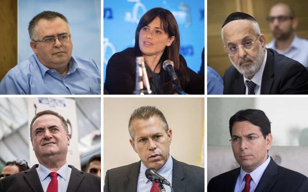 משולם נהרי, ציפי חוטבלי, דוד ביטן, דני דנון, גלעד ארדן, ישראל כ״ץ (צילום: פלאש90)