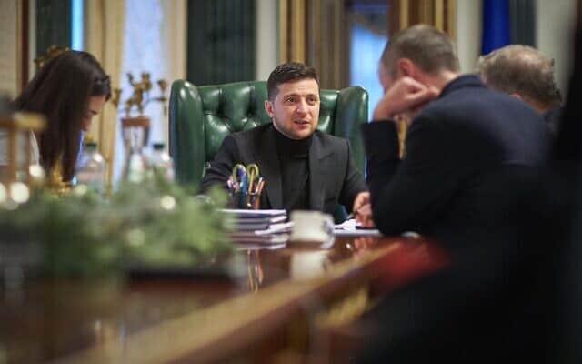וולודימיר זלנסקי במהלך הראיון לזמן ישראל, ב-18 בינואר 2020 (צילום: Press service of the Office of the President of Ukraine)