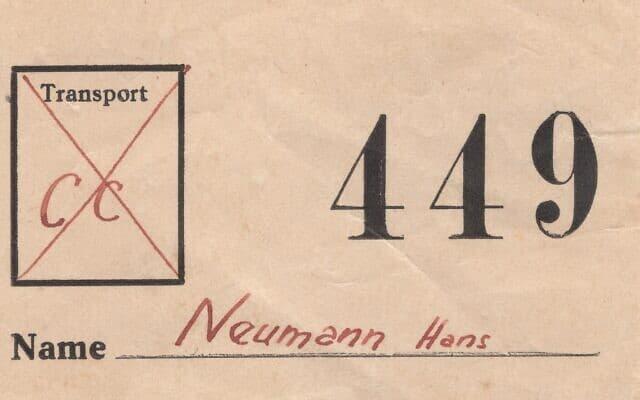 כרטיס הגירוש של הנס נוימן. הוא נמלט ולא הגיע לתחנת בובני בפראג כפי שצֻווה (צילום: באדיבות אריאנה נוימן)