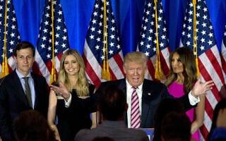 מלניה ודונלד טראמפ, איוונקה וג'ארד קושנר (צילום: (AP Photo/Mary Altaffer, File)