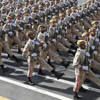 מצעד של כוחות הצבא האיראני לציון 39 שנה לפתיחת מלחמת איראן-עירק. ספטמבר 2019 (צילום: (Iranian Presidency Office via AP))