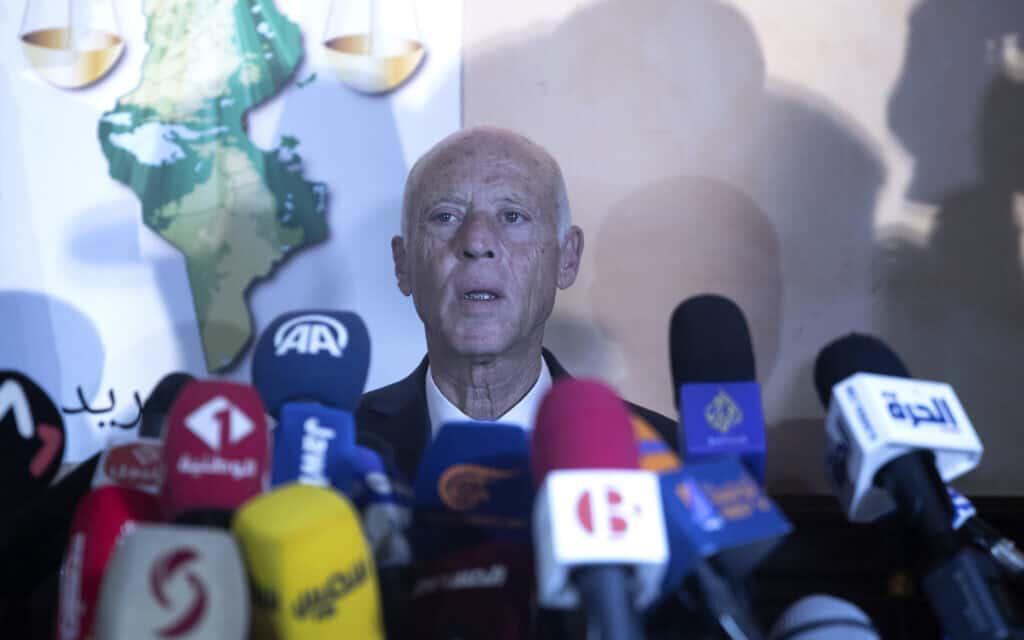 נשיא תוניסיה קייס סאיד (צילום: AP Photo/Mosa'ab Elshamy)