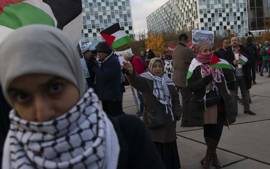 מפגינים נושאים שלטים ודגלי פלסטין מחוץ לבית הדין הבינלאומי, בקריאה לתביעה של הצבא הישראלי על פשעי מלחמה בהאג, הולנד, 29 בנובמבר 2019 (צילום: AP\ פיטר דג'ונג)