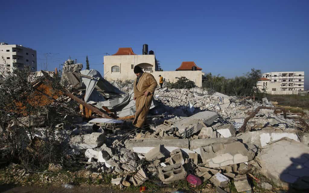 """בית מפגע שנהרס על ידי צה""""ל בג'נין, 6 בפברואר 2020 (צילום: Majdi Mohammed, AP)"""