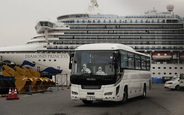ספינת דיאמונד פרינסס ביפן. 15 בפברואר 2020 (צילום: AP Photo/Jae C. Hong)