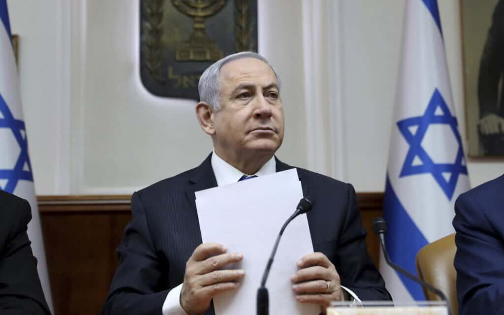 נתניהו בישיבת הממשלה, היום (צילום: Gali Tibbon, AP)