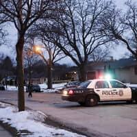 כוחות משטרה בזירת הירי במילווקי בוויסקונסין, 26 בפברואר 2020 (צילום: Morry Gash, AP)