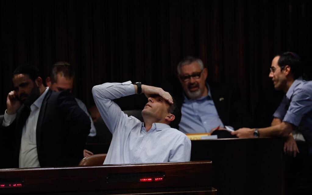 מתן כהנא בהצבעה על פיזור הכנסת, 11 בדצמבר 2019 (צילום: Olivier-Fitoussi-Flash90)
