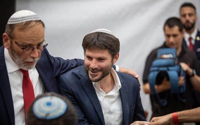 בצלאל סמוטריץ' מגיע לחגוג את יום ירושלים בישיבת מרכז הרב בירושלים, יוני, 2019 (צילום: Aharon Krohn/ Flash90)