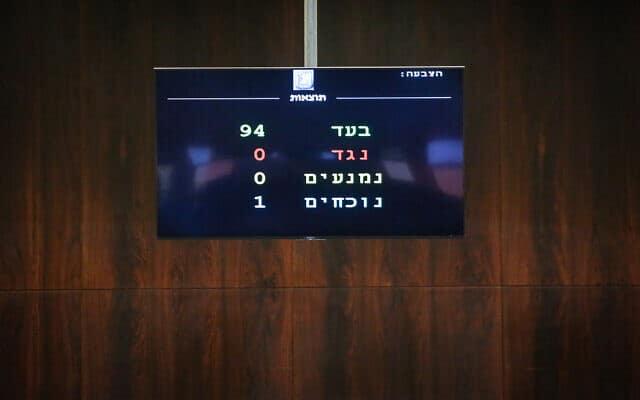 הצבעה על הצעת חוק לפיזור הכנסת. 12 בדצמבר 2019 (צילום: Olivier Fitoussi/Flash90)