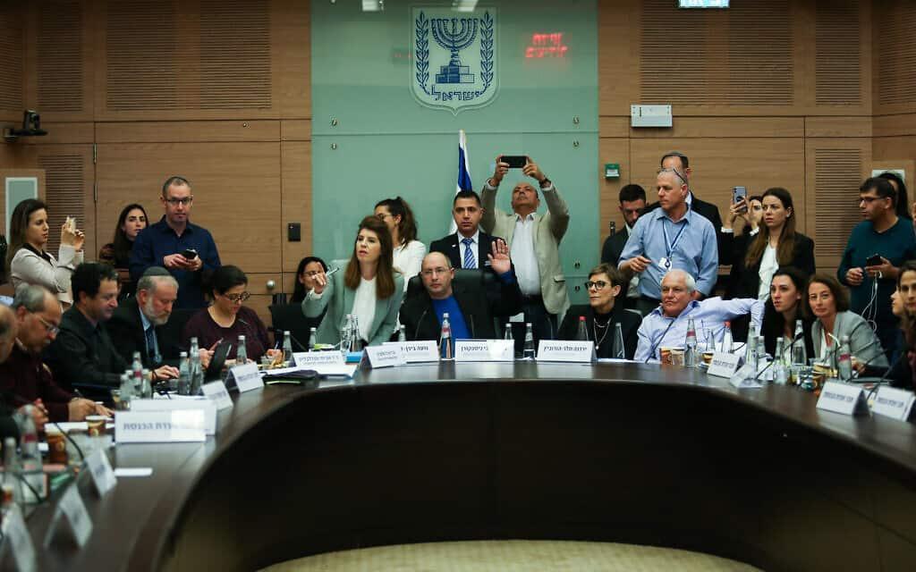 ועדת הכנסת דנה בבקשת החסינות של חיים כץ. 4 בפברואר 2020 (צילום: פלאש90)